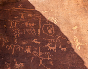 Atlati Rock Petroglyphs in Valley of Fire State Park in Nevada